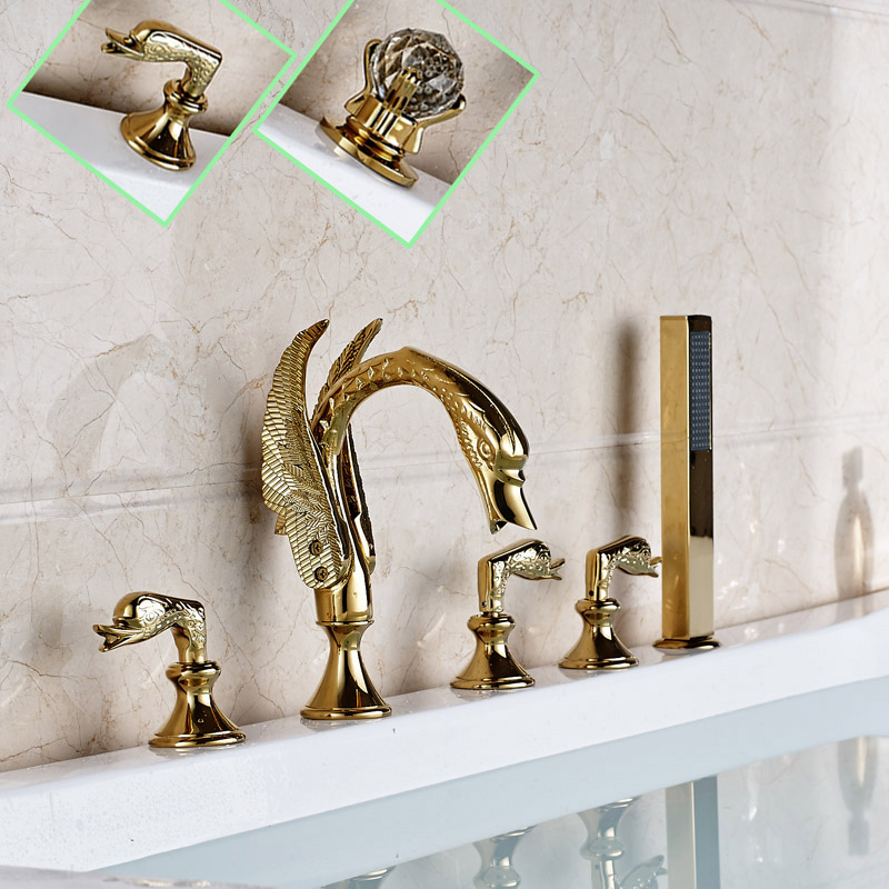 Swan Style Deck Mounted Bathtub Faucet Set Three Handles 5pcs Bathroom Tub Sink Mixer Tap with Handshower(China (Mainland))