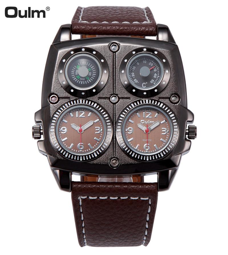 Oulm Sport Watch Luxury Brand Dual Time Analog Quartz Black Leather Band Wrist Watch Military Men Wristwatches Reloj Hombre<br><br>Aliexpress