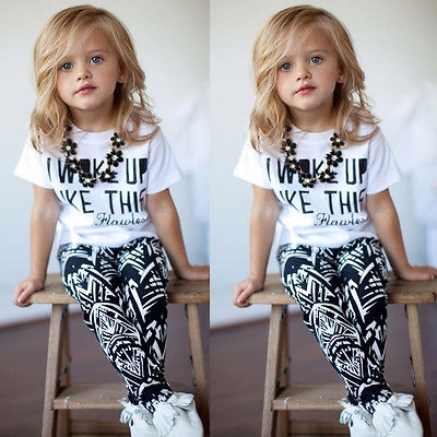 Toddler Kids Baby Girls Outfit Clothes T-shirt Tops+Long Pants Trousers 2PCS Set(China (Mainland))
