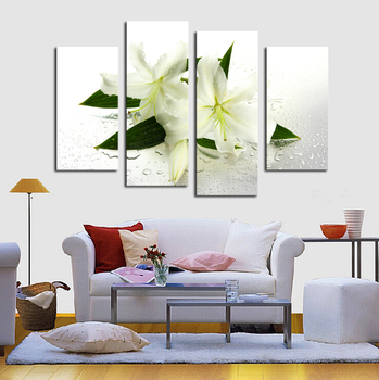 4Panels (No Frame) White flowers Painting Canvas Wall Art Picture Home Decoration Living Room Canvas Print Modern Painting