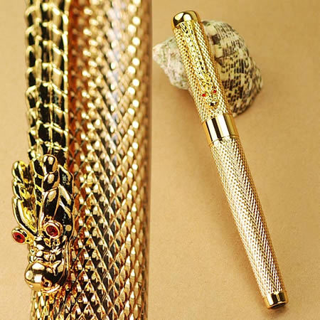 New 2014 Jinhao Kawaii Pens Golden Dragon Carver Vintage Fountain Pen For Writing With Logo Office Supplies Promotional<br><br>Aliexpress