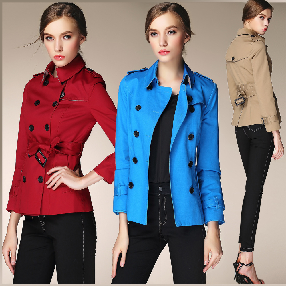Fasicat Double Breasted Women Trench Coat Belted Overcoat Wide Waisted Full Sleeve Ruffles Turn Down Collar Spring Coat 9116(China (Mainland))