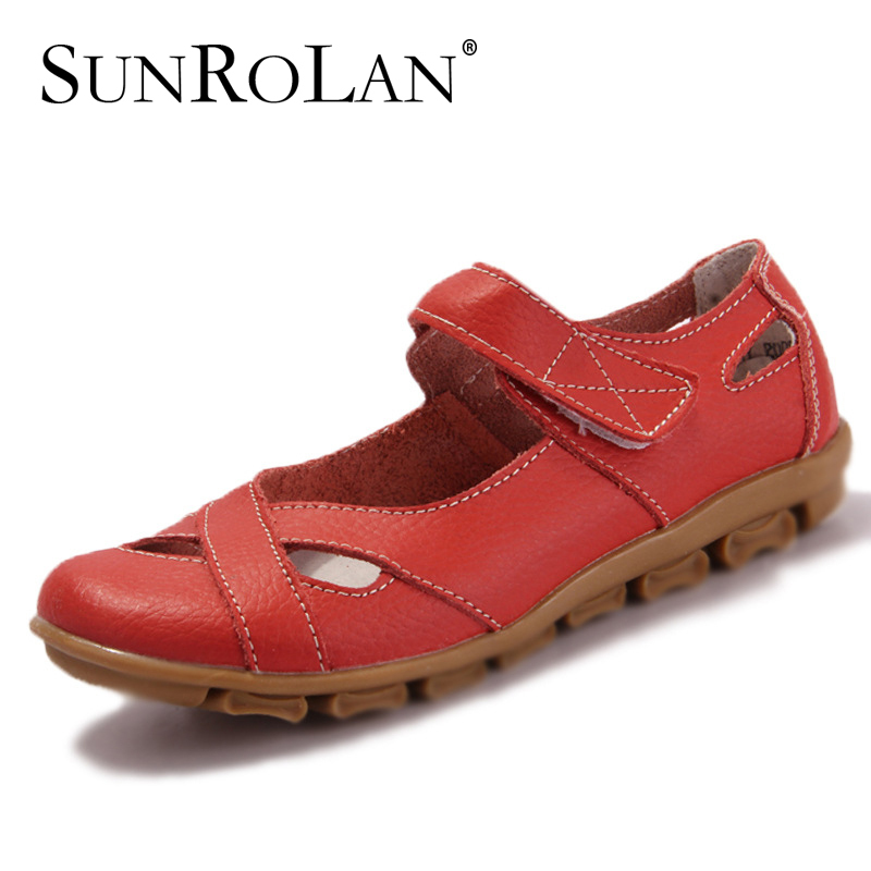 2015 Comfortable women genuine leather sandals velcro woman sandal slip-resistant rubber outsole women's flat beach shoes 2005(China (Mainland))