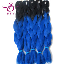 1Packs 24″100g Black&#Blue  Ombre Two Tone Kanekalon Jumbo Braiding Synthetic Hair For Dreadlocks Crochet Box Braids Twist