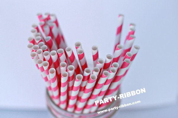 500pcs Free DHL Shipping $100 Above Paper Straws, Striped Paper Straws, Drinking Straws Panton 213C hot pink Birthday Party(China (Mainland))