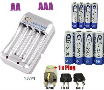 4+ 4 4x 1.2V AA 2500mAh 4x AAA 1000mAh NiMH Ni-MH Rechargeable Recharge Battery Flashlight Battery Mp3 Player Battery + Charger