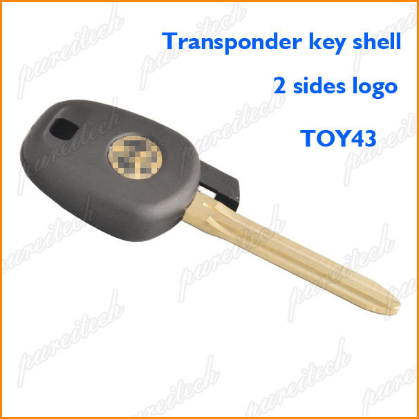 20pieces lot plastic black toyota car transponder chips key shell replace with toy43 blade 2 sides