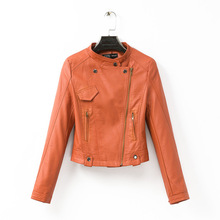 new Europe and the United States pure color tangerine inclined zipper leisure long leather coat of cultivate one's morality 0.7(China (Mainland))