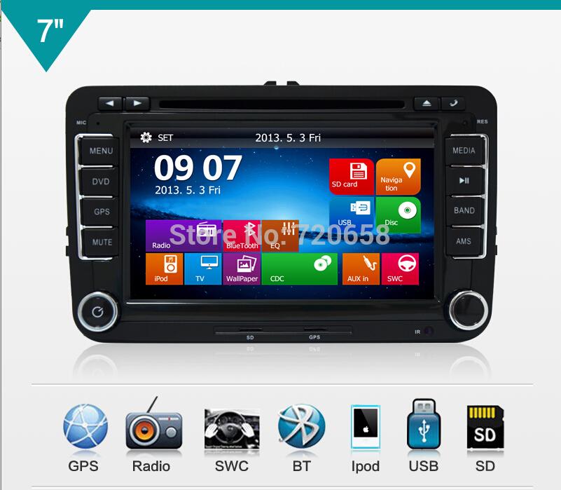 2Din New Fashion Car DVD VW GOLF POLO CADDY PASSAT B6 JETTA SKODA MK5 MK6 Tiguan Touran Caddy GPS UI RADIO RDS MP3 - Jiangsu Kaichuang Auto Parts CO.,LTD. store