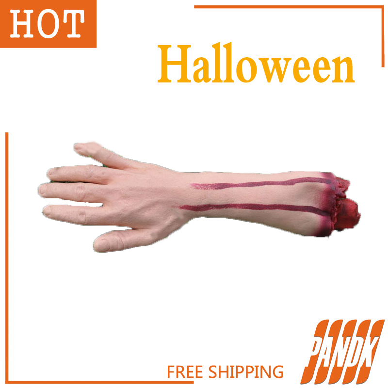 Halloween spoof party props Severed Latex Arm Cut Off Hand tricky bloody decoration arms realistic prosthetic latex hand(China (Mainland))