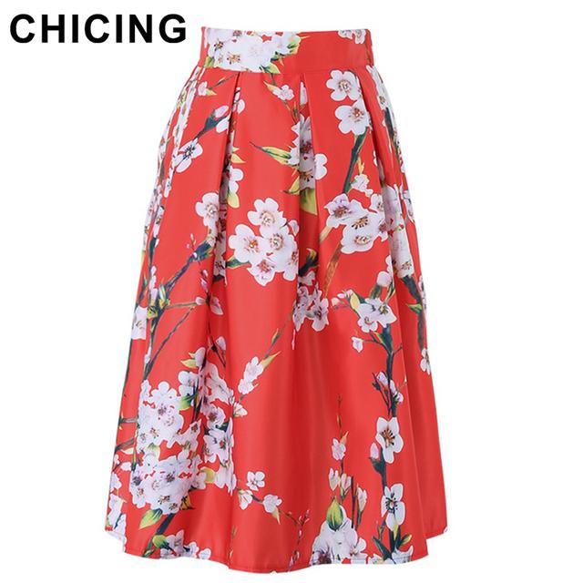 Chicing новый 2016 летом мода цветочные принты длиной до колен пачка плиссе конькобежец ...