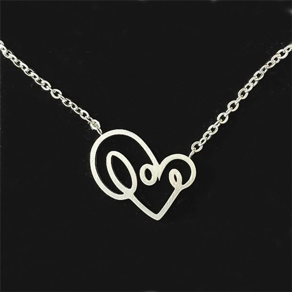 2016 New Bohemian Monogram Love Vintage Heart Pendant Collar Necklace Choker Chain Bib Statement Necklace & Pendants For Women(China (Mainland))