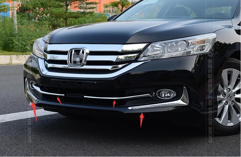 For Honda Accord 2013 2014 2015 Chrome Front Bottom Grill Cover & Fog Lamp Eyebrow Cover Trims(China (Mainland))