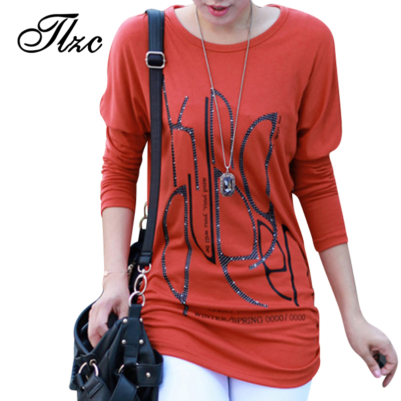 New Print Lady Casual Loose T-Shirt Plus Size L-4XL Maternity Long Sleeve O-Neck Design Women Fashion Cotton Tees &amp; Tops Одежда и ак�е��уары<br><br><br>Aliexpress