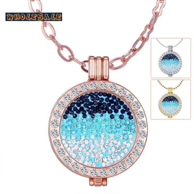 2016 New My Coins Necklace Blue White Crystal Moneda Locket Pendant Collar Fashion Jewellery 75pcs/Lot Mixed Wholesale 008(China (Mainland))