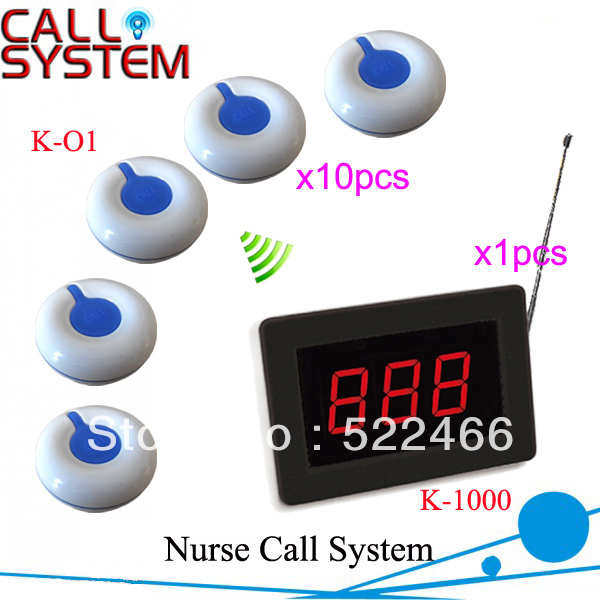 HOT!! Wireless Paging System for Hospital K-1000+O1 with 1 pcs display and 10 pcs call button easy to install Free Shipping