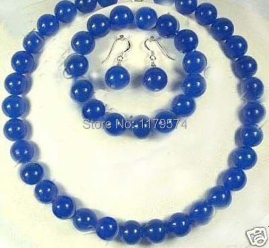 Hot free Shipping new Fashion 10MM Blue Chalcedony Necklace +Bracelet +Earrng hp010(China (Mainland))