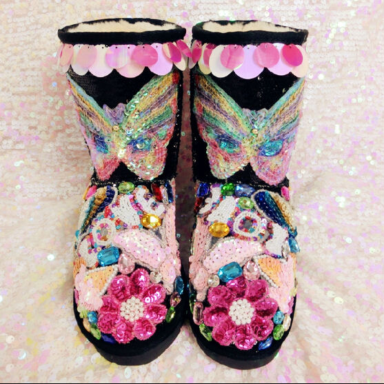 Glittering cute women boots colorful rhinestone mid-calf winter boots sequined butterfly flowers party shoes fur side warm boots(China (Mainland))