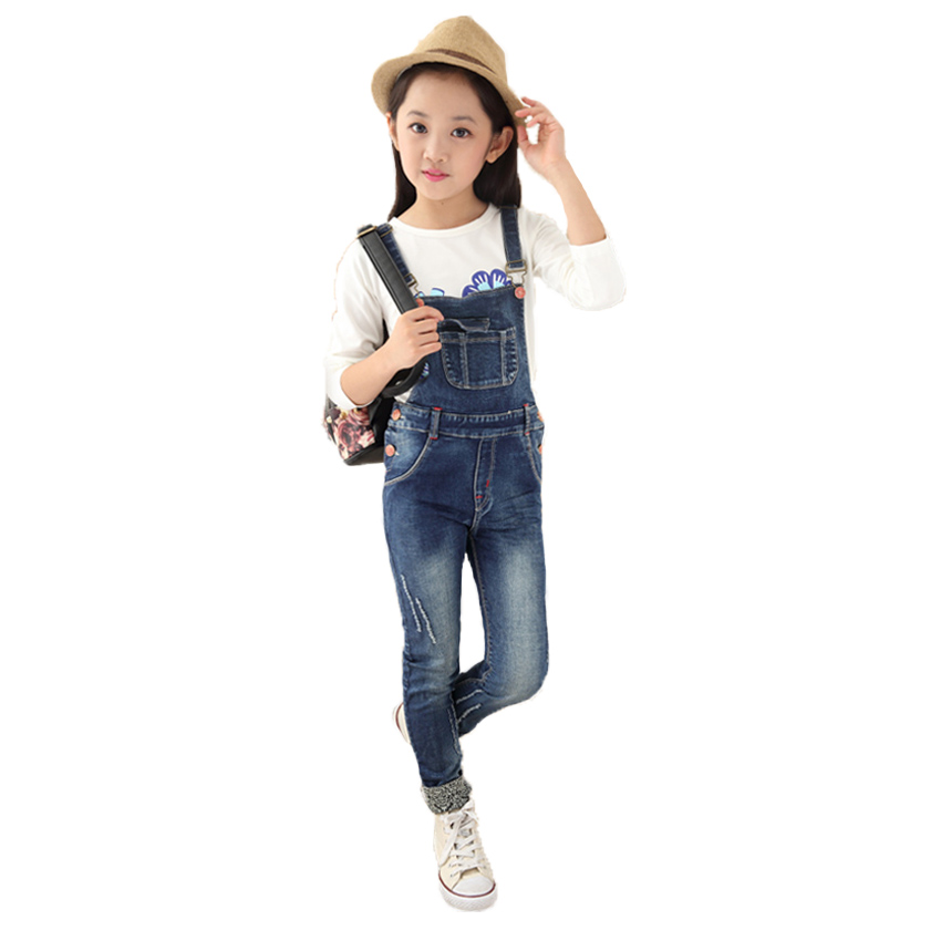 Big Girls Denim Overalls Autumn Fashion New Style Children Clothing Casual Kids Pants Solid High ...