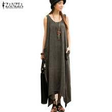 Buy Newest ZANZEA 2017 Summer Women Casual Loose Sleeveless Vintage Long Maxi Dress Irregular Party Dresses Vestidos for $10.20 in AliExpress store