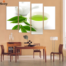 Buy Wall Art 4 Piece Canvas Kitchen Modern Wall Green Tea Painting Home Art Picture Paint Canvas Prints Decor Cuadros De Lien for $9.00 in AliExpress store