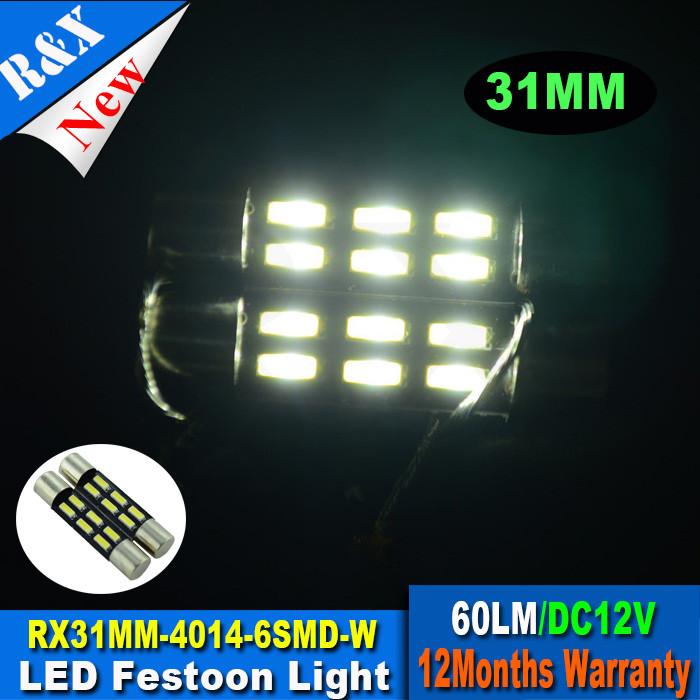 1X Xenon White C5W Festoon bulb 31MM 4014 SMD 6 LED t6.3 Automobile Interior Light Car lamp Door Dome License Plate bulb 12v(China (Mainland))