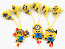 Free shipping  in-ear wired 3.5mm earphone cartoon headphone Despicable Me Minions model headset for MP3 MP4 cell phone