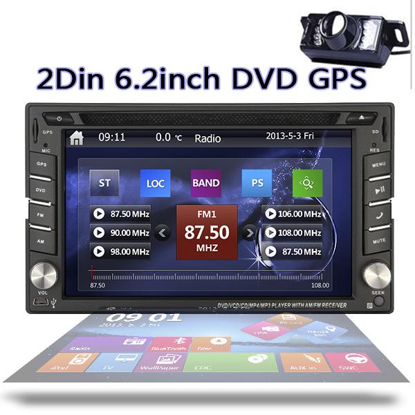 Free Camera NEW WinCE 8 UI Car headunit Auto 6.2inch double 2 Din GPS Navigation Car Stereo Radio Bluetooth DVD CD Player iPod(China (Mainland))