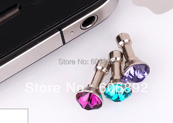 Free shipping diamond typed dustproof plug ear cap for iPhone series 3.5MM for all Mobil phone 50pcs/lot