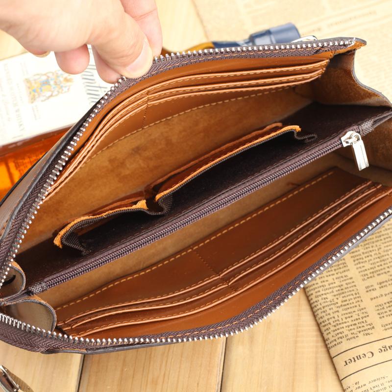 Vintage Genuine Leather Men Wallet Bolsos Men Clutch Bags Cowhide Handbags Men's Leather Bolsas Large Capacity Brand Hand Bag