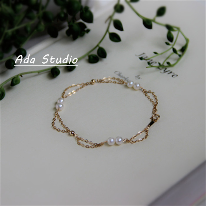 Customize with paragraph Mikimoto pearls direct mail import natural Zhengyuan 14K gold double bracelet jewelry NOTE woman(China (Mainland))