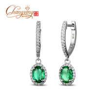 Caimao New Arrivals 14K White Gold Natural 1.65CT Columbian Emerald Diamond Engagment Earring