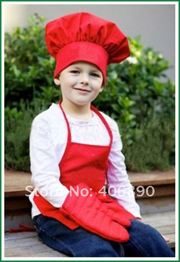 children cute toy a set chef cap and apron(China (Mainland))