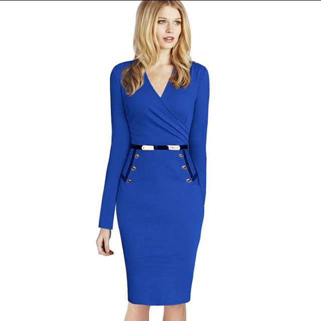 Платье с v-образным вырезом длинный рукав, офис дамы стиль elbise сплошной тёплый офис осень   карандаш для artka женщины