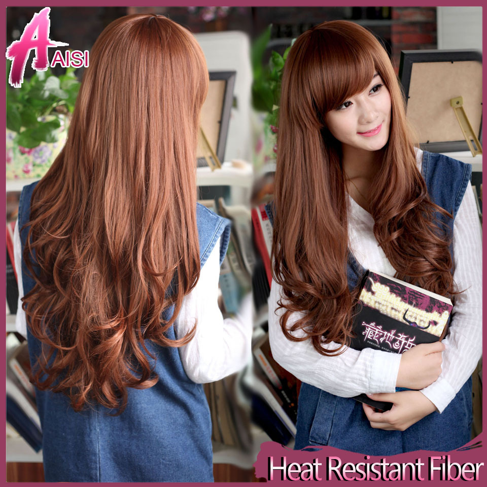 25-Long-Wavy-Fake-Hair-Wigs-with-Side-Bangs-Cheap-Synthetic-False-Hair ...