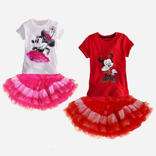 2015 New kids girl clothing set,baby girls minnie clothes sets,minnie t-shirt+tutu skirts sets Children 2pcs Suit clothing(China (Mainland))