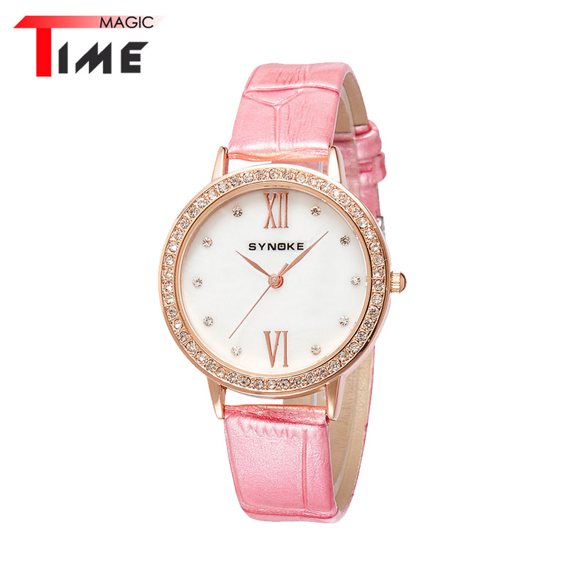 [Time Magic] Round Dial Womens Watch Diamond Fashion Quartz Watches Relogio Feminino Retro Leather Watchbands Wristwatches<br><br>Aliexpress