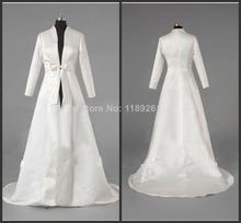 Personnalisé manches longues de mariée de mariée en satin veste longue wrap livraison gratuite PJ013(China (Mainland))