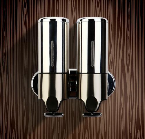 Stainless Steel Wall Mount Liquid Double Soap Dispenser Bathroom Shampoo Bath Hand Sanitizer Bottle MR27(China (Mainland))
