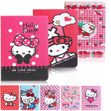 Hello Kitty cartoon book case cover for Ipad air 2 High quality pu leather flip smart holder full protect cover for Apple Ipad 6
