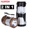 Brand YUETOR rechargeable camping lanterns AA solar led lamp camping tent outdoor emergency zoomable portable lanterns