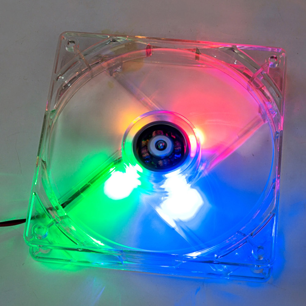 8cm Mini Quiet Clear Shell Colorful LED 4 Pin Connector Computer Desktop PC Case CPU Cooler Cooling Fan(China (Mainland))