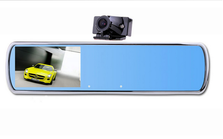 "Dual Camera Rearview Mirror Car DVR DV700 With 4.3"" HD Screen+Super Night Vision + H.264 HDMI 140 Degree Wide Angle + G-Sensor(China (Mainland))"