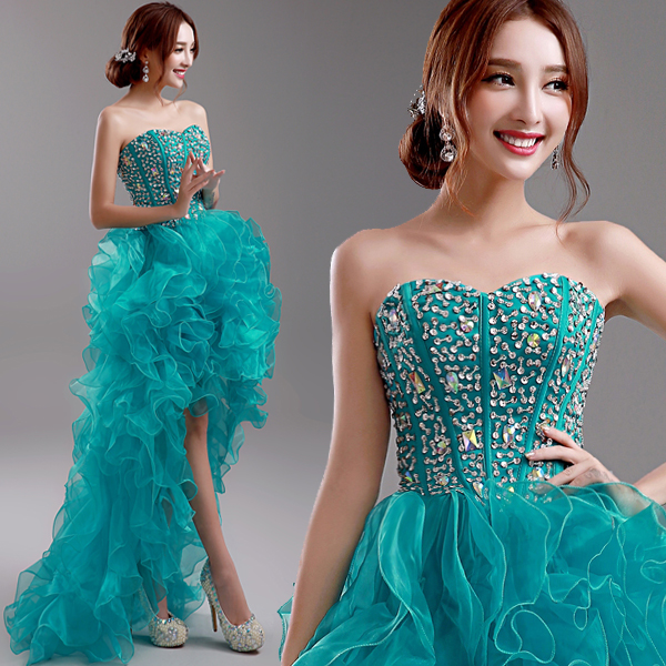 2016 New Spring Green Color Handmade Beading Bride Evening Dress Blue Band Short Front Long Back Bra Sparkle Celebrity Dress(China (Mainland))