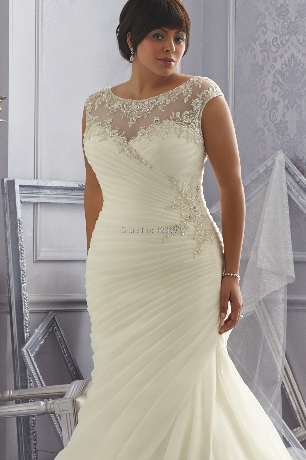 Dress free picture more detailed picture about 2014 new for Best wedding dresses for short fat brides