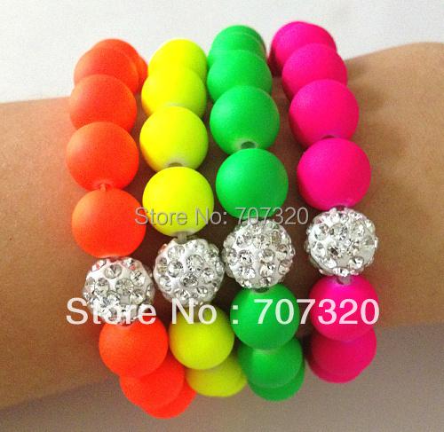 Handmade Jewelry Hot Neon Bracelet Fluorescence Candy Color Beads Disco Shamballa Ball Stretch Bracelet(China (Mainland))