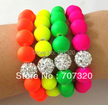 Handmade Jewelry Hot Neon Bracelet Fluorescence Candy Color Beads Disco Shamballa Ball Stretch Bracelet Bs7129A(China (Mainland))