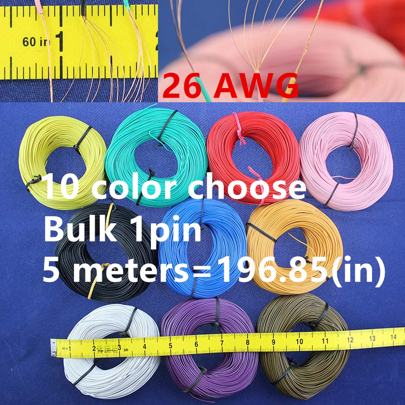 Free shipping Bulk 1pin 5 metres super flexible 26AWG PVC insulated Wire Electric cable, LED cable, DIY Connect 10 color choose(China (Mainland))