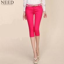 2016 Summer Style Women pants capris  woman candy color slimming capris pants cotton skinny denim capris for women plus size(China (Mainland))