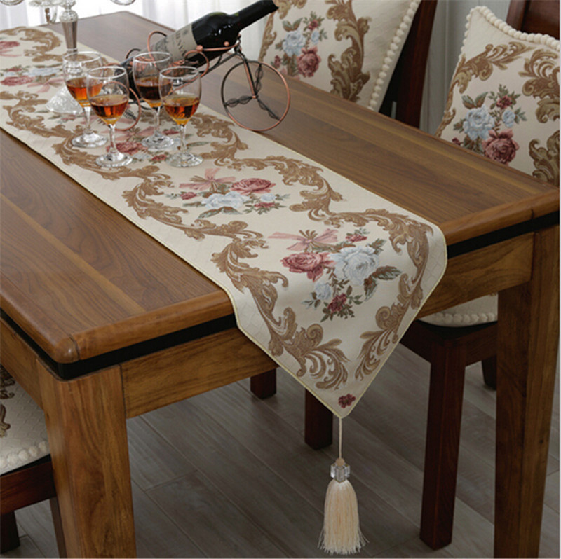 Embroidered Floral TV Table Runner Elegant Party Wedding Decoration Bed Sofa Cloth Modern Table Flag(China (Mainland))